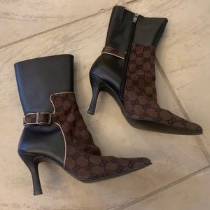 Gucci Brown Monogram Heels Boots
